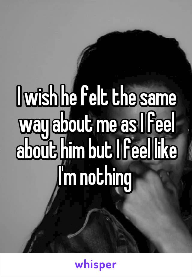 I wish he felt the same way about me as I feel about him but I feel like I'm nothing