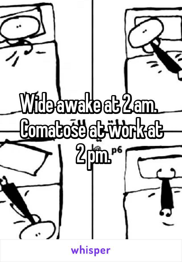 Wide awake at 2 am.   Comatose at work at  2 pm.