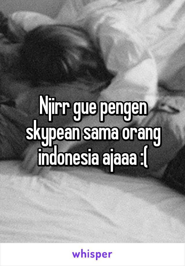 Njirr gue pengen skypean sama orang indonesia ajaaa :(