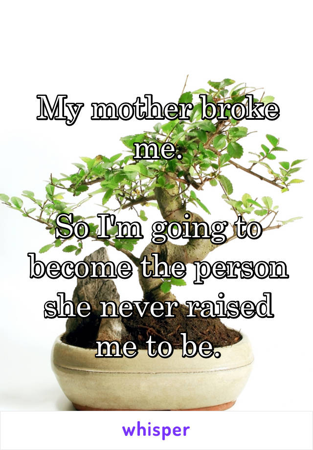 My mother broke me.  So I'm going to become the person she never raised me to be.