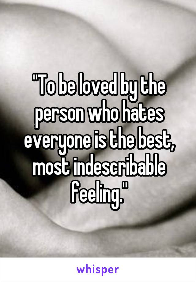 """""""To be loved by the person who hates everyone is the best, most indescribable feeling."""""""