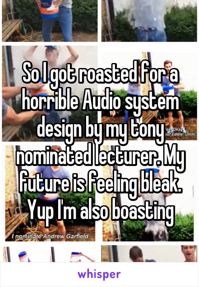 So I got roasted for a horrible Audio system design by my tony nominated lecturer. My future is feeling bleak. Yup I'm also boasting
