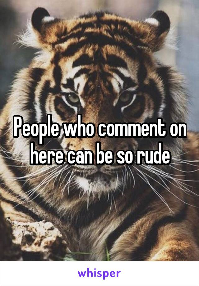 People who comment on here can be so rude
