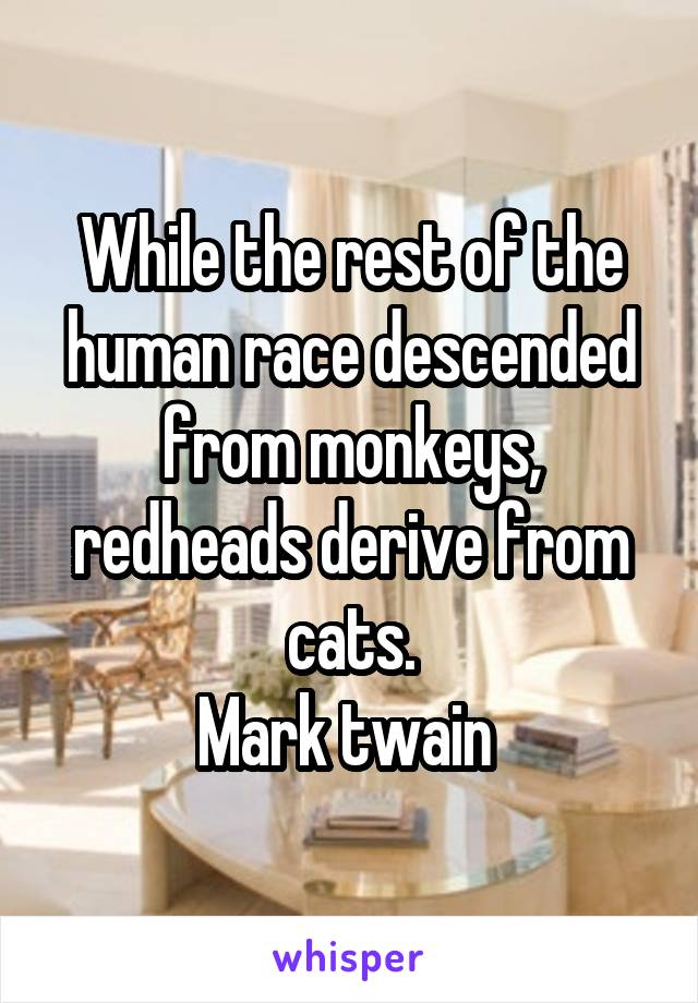 While the rest of the human race descended from monkeys, redheads derive from cats. Mark twain