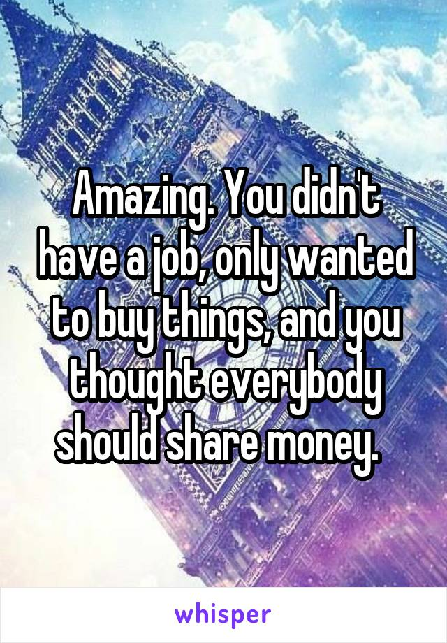 Amazing. You didn't have a job, only wanted to buy things, and you thought everybody should share money.