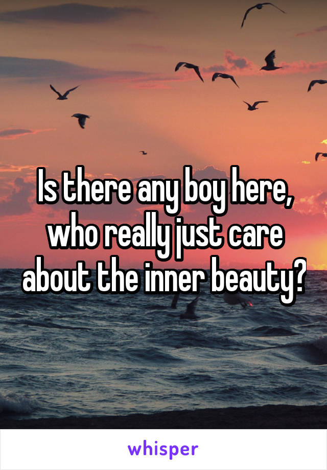Is there any boy here, who really just care about the inner beauty?