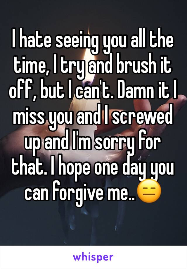 I hate seeing you all the time, I try and brush it off, but I can't. Damn it I miss you and I screwed up and I'm sorry for that. I hope one day you can forgive me..😑