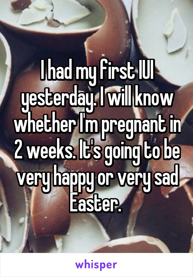 I had my first IUI yesterday. I will know whether I'm pregnant in 2 weeks. It's going to be very happy or very sad Easter.