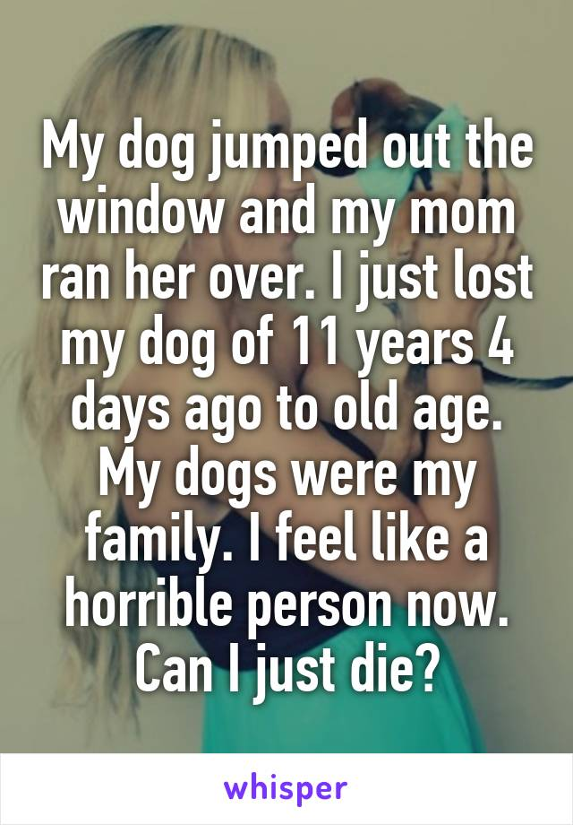 My dog jumped out the window and my mom ran her over. I just lost my dog of 11 years 4 days ago to old age. My dogs were my family. I feel like a horrible person now. Can I just die?