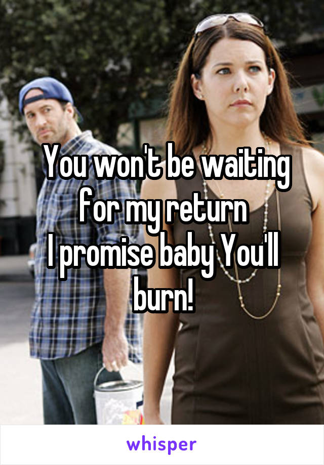 You won't be waiting for my return I promise baby You'll burn!