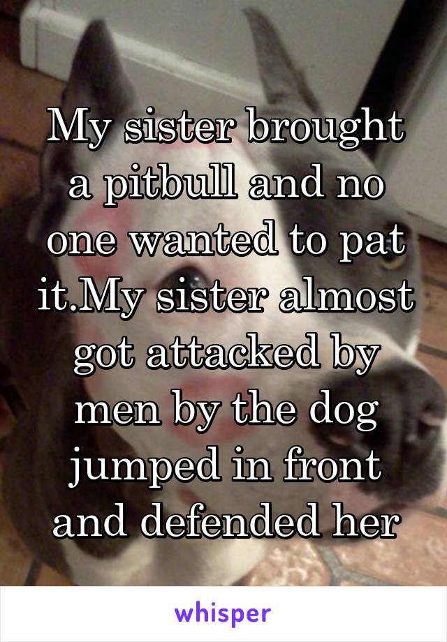 My sister brought a pitbull and no one wanted to pat it.My sister almost got attacked by men by the dog jumped in front and defended her