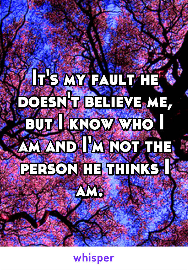It's my fault he doesn't believe me, but I know who I am and I'm not the person he thinks I am.