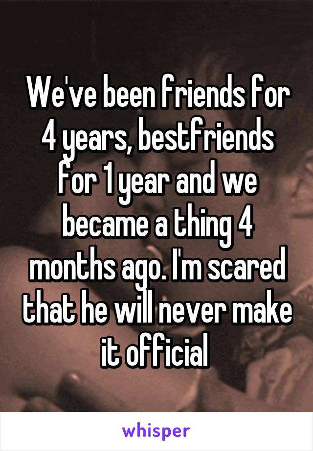 We've been friends for 4 years, bestfriends for 1 year and we became a thing 4 months ago. I'm scared that he will never make it official