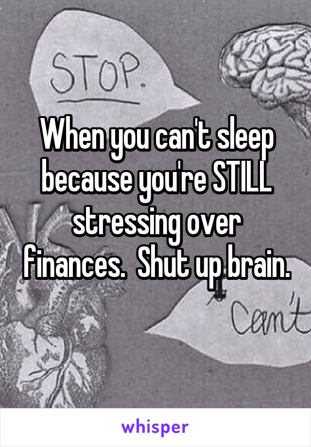 When you can't sleep because you're STILL stressing over finances.  Shut up brain.