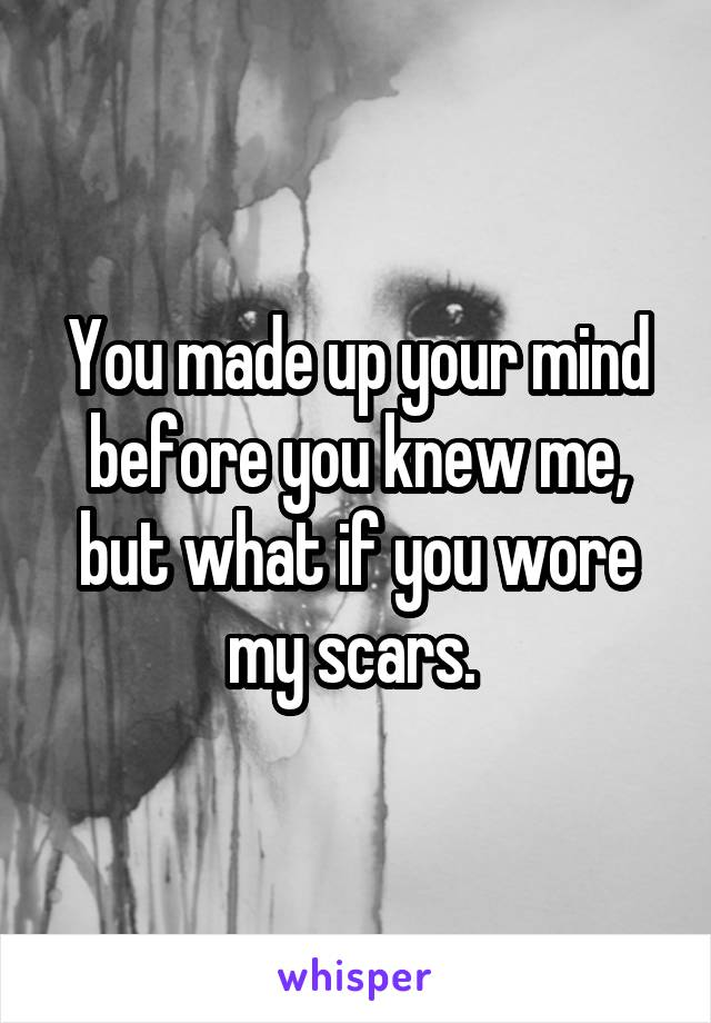You made up your mind before you knew me, but what if you wore my scars.