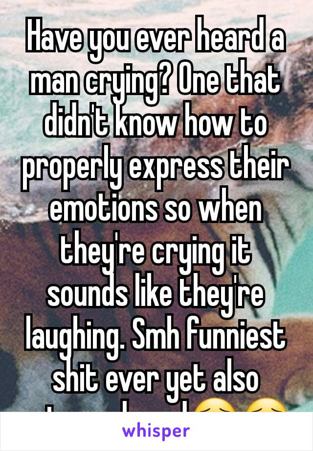 Have you ever heard a man crying? One that didn't know how to properly express their emotions so when they're crying it sounds like they're laughing. Smh funniest shit ever yet also extremely sad😯😯