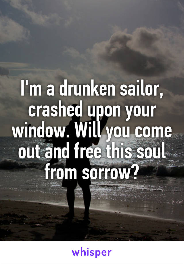 I'm a drunken sailor, crashed upon your window. Will you come out and free this soul from sorrow?