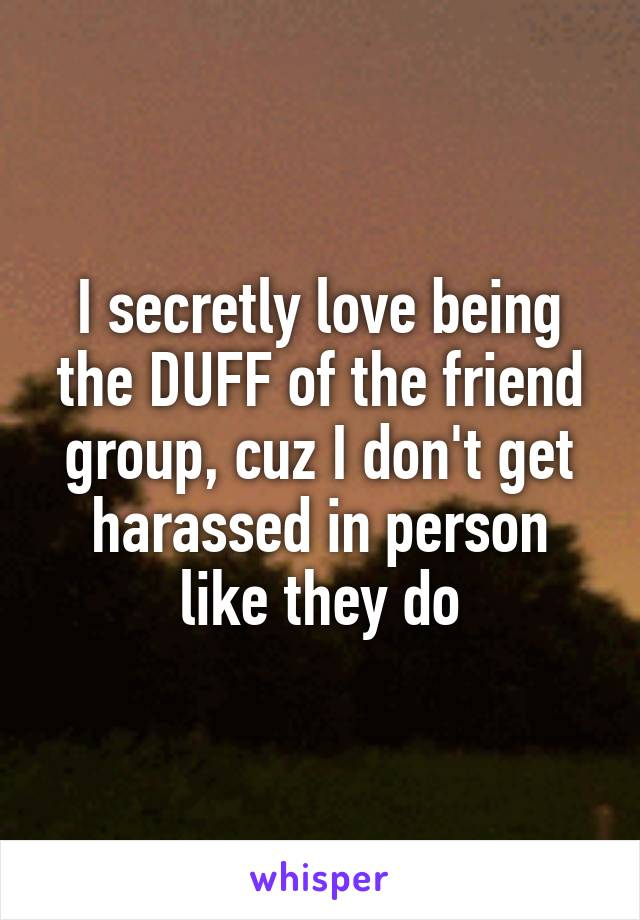 I secretly love being the DUFF of the friend group, cuz I don't get harassed in person like they do