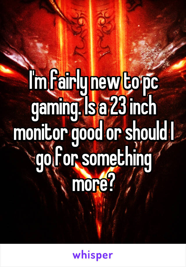 I'm fairly new to pc gaming. Is a 23 inch monitor good or should I go for something more?