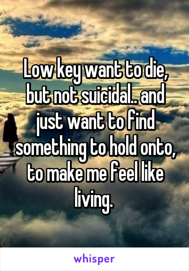 Low key want to die, but not suicidal.. and just want to find something to hold onto, to make me feel like living.