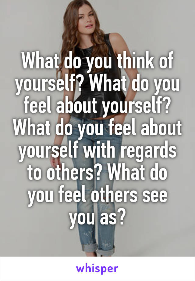 What do you think of yourself? What do you feel about yourself? What do you feel about yourself with regards to others? What do you feel others see you as?
