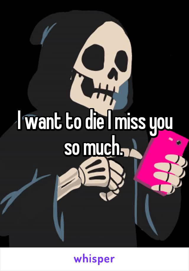 I want to die I miss you so much.