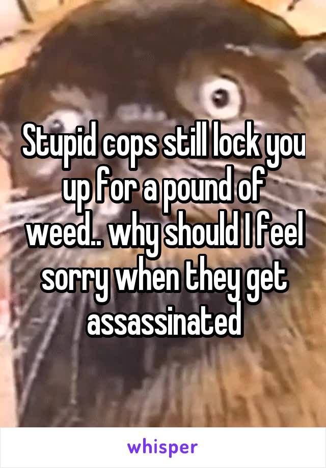Stupid cops still lock you up for a pound of weed.. why should I feel sorry when they get assassinated