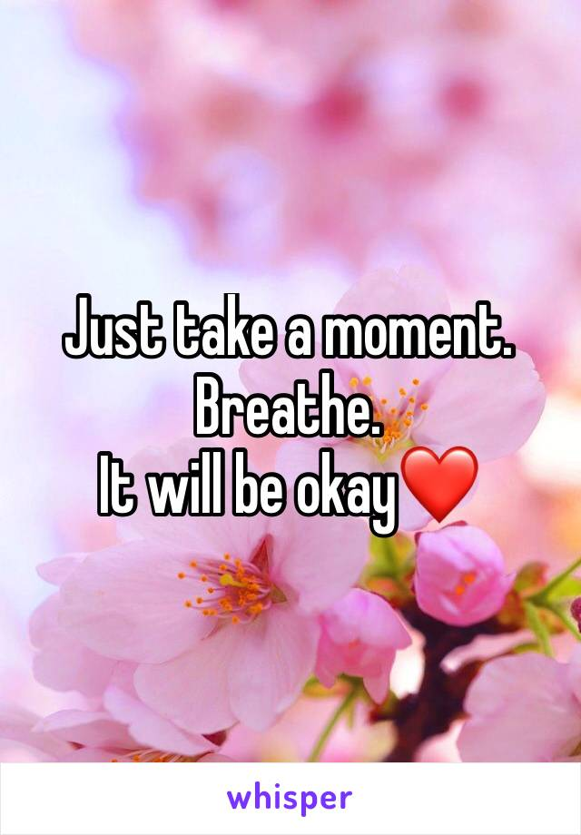 Just take a moment. Breathe. It will be okay❤