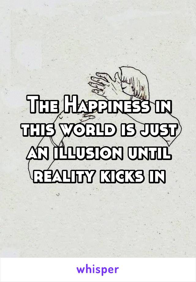 The Happiness in this world is just an illusion until reality kicks in