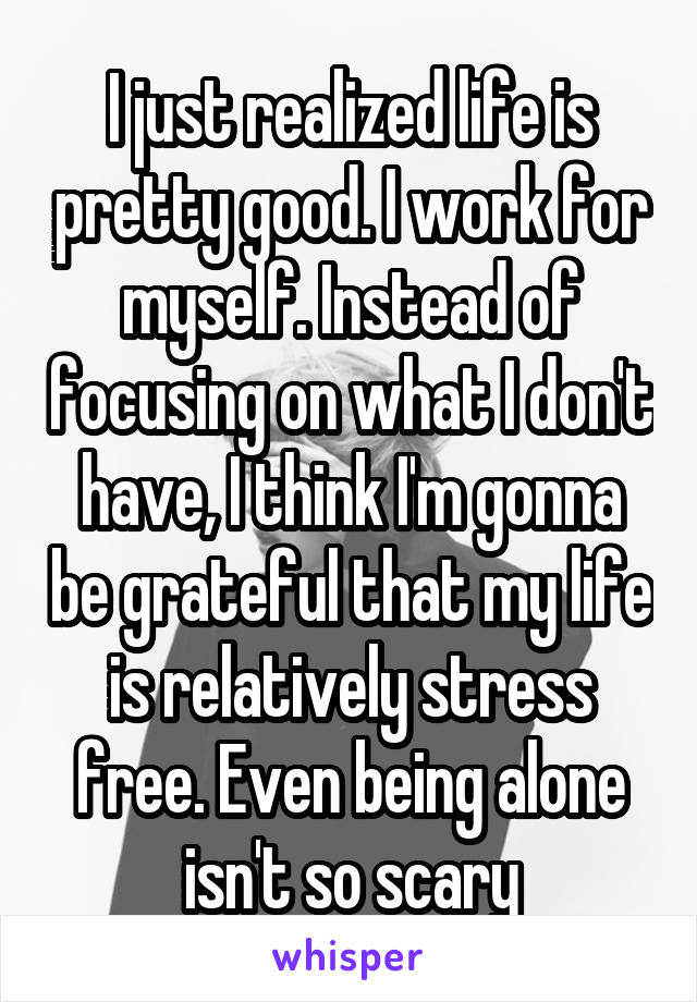 I just realized life is pretty good. I work for myself. Instead of focusing on what I don't have, I think I'm gonna be grateful that my life is relatively stress free. Even being alone isn't so scary