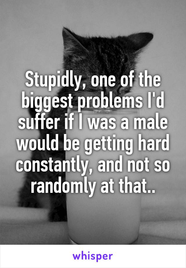 Stupidly, one of the biggest problems I'd suffer if I was a male would be getting hard constantly, and not so randomly at that..