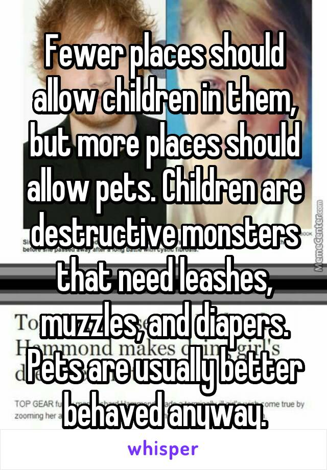 Fewer places should allow children in them, but more places should allow pets. Children are destructive monsters that need leashes, muzzles, and diapers. Pets are usually better behaved anyway.