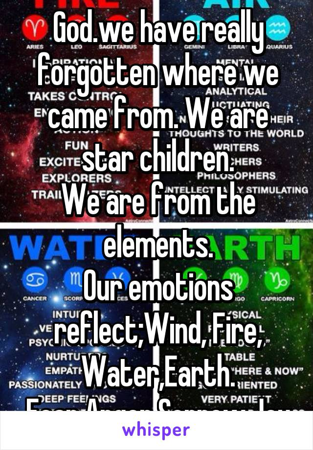 God.we have really forgotten where we came from. We are star children. We are from the elements. Our emotions reflect;Wind, Fire, Water,Earth. Fear,Anger,Sorrow,Joy