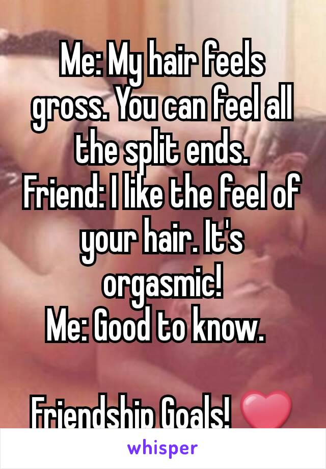 Me: My hair feels gross. You can feel all the split ends. Friend: I like the feel of your hair. It's orgasmic! Me: Good to know.    Friendship Goals! ❤