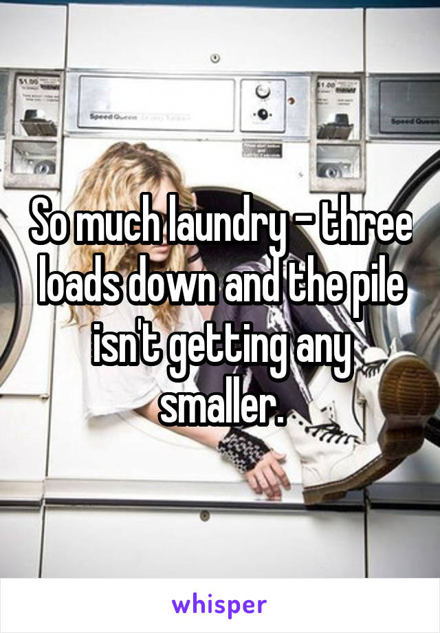 So much laundry - three loads down and the pile isn't getting any smaller.