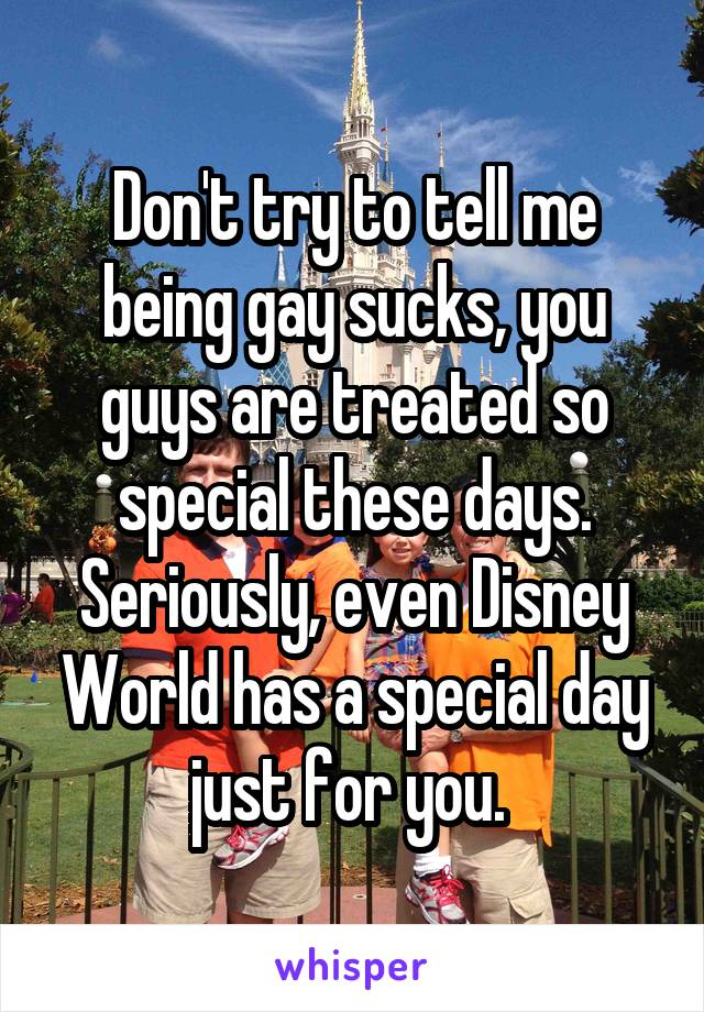 Don't try to tell me being gay sucks, you guys are treated so special these days. Seriously, even Disney World has a special day just for you.