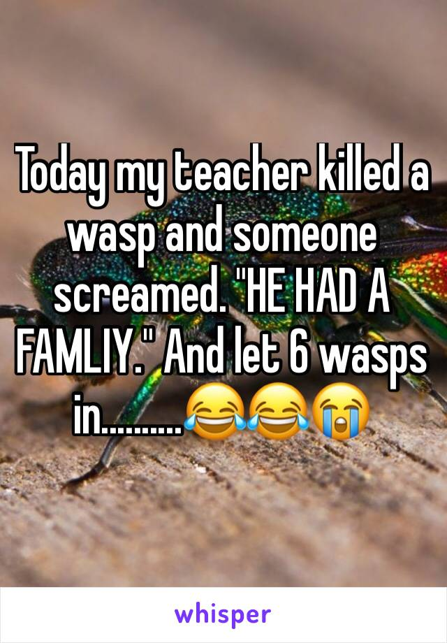 "Today my teacher killed a wasp and someone screamed. ""HE HAD A FAMLIY."" And let 6 wasps in..........😂😂😭"