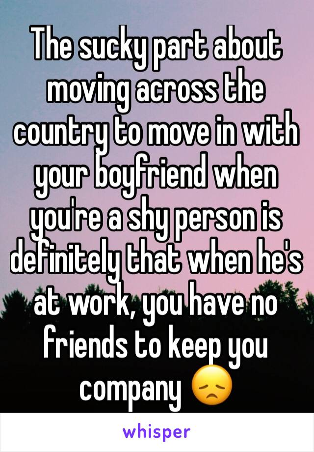 The sucky part about moving across the country to move in with your boyfriend when you're a shy person is definitely that when he's at work, you have no friends to keep you company 😞
