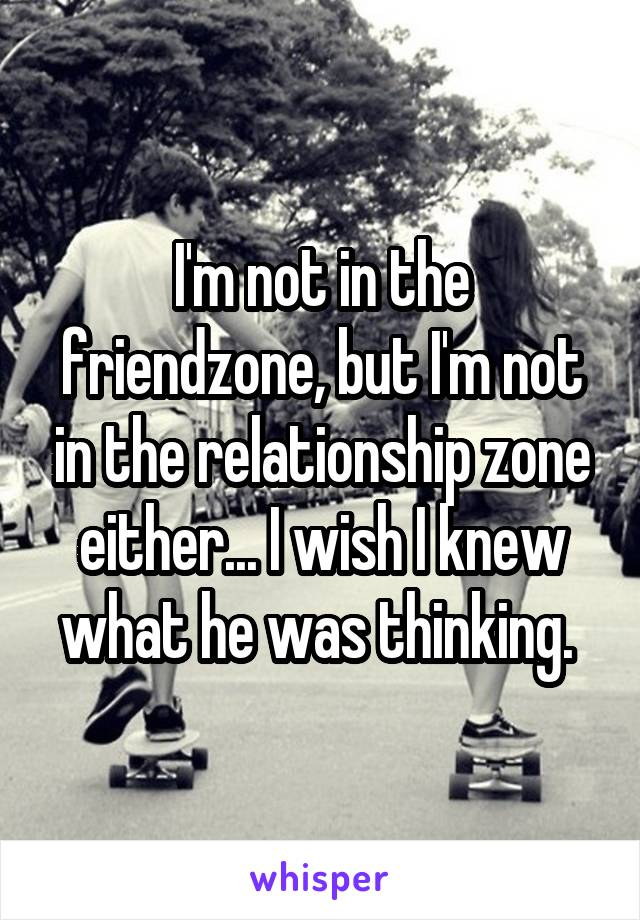 I'm not in the friendzone, but I'm not in the relationship zone either... I wish I knew what he was thinking.