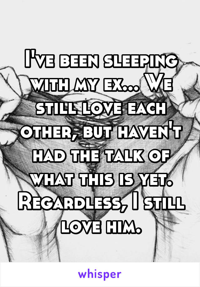 I've been sleeping with my ex... We still love each other, but haven't had the talk of what this is yet. Regardless, I still love him.
