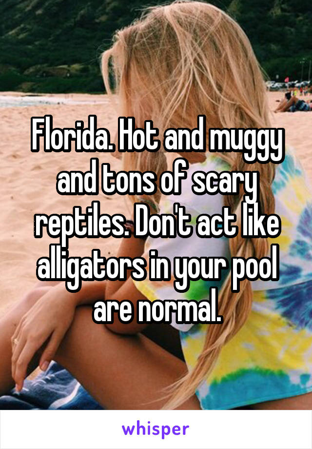 Florida. Hot and muggy and tons of scary reptiles. Don't act like alligators in your pool are normal.