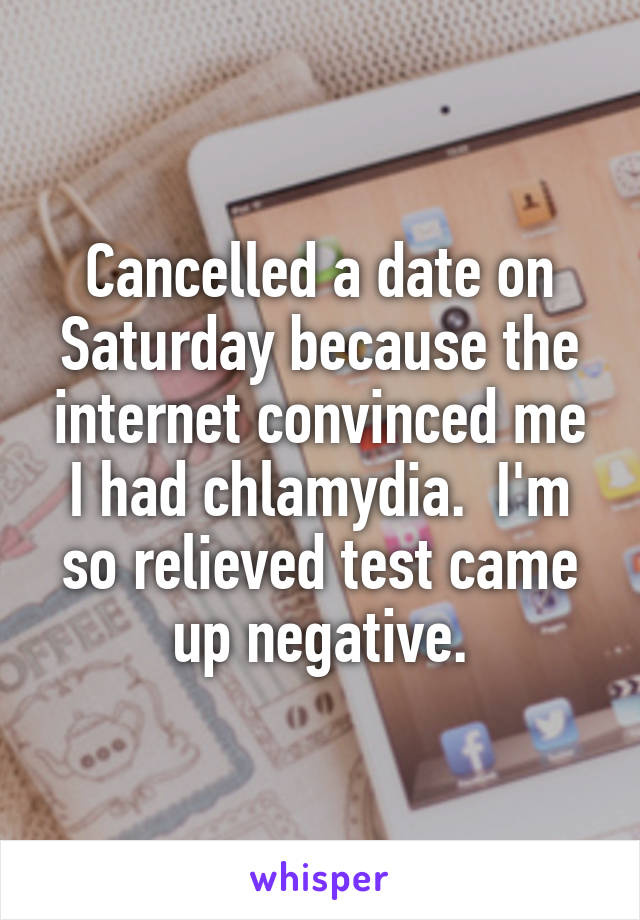 Cancelled a date on Saturday because the internet convinced me I had chlamydia.  I'm so relieved test came up negative.