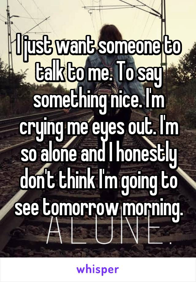 I just want someone to talk to me. To say something nice. I'm crying me eyes out. I'm so alone and I honestly don't think I'm going to see tomorrow morning.