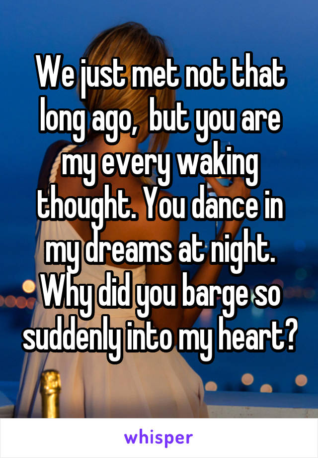 We just met not that long ago,  but you are my every waking thought. You dance in my dreams at night. Why did you barge so suddenly into my heart?