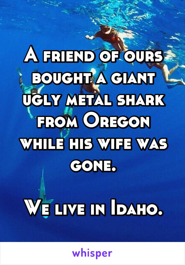 A friend of ours bought a giant ugly metal shark from Oregon while his wife was gone.  We live in Idaho.