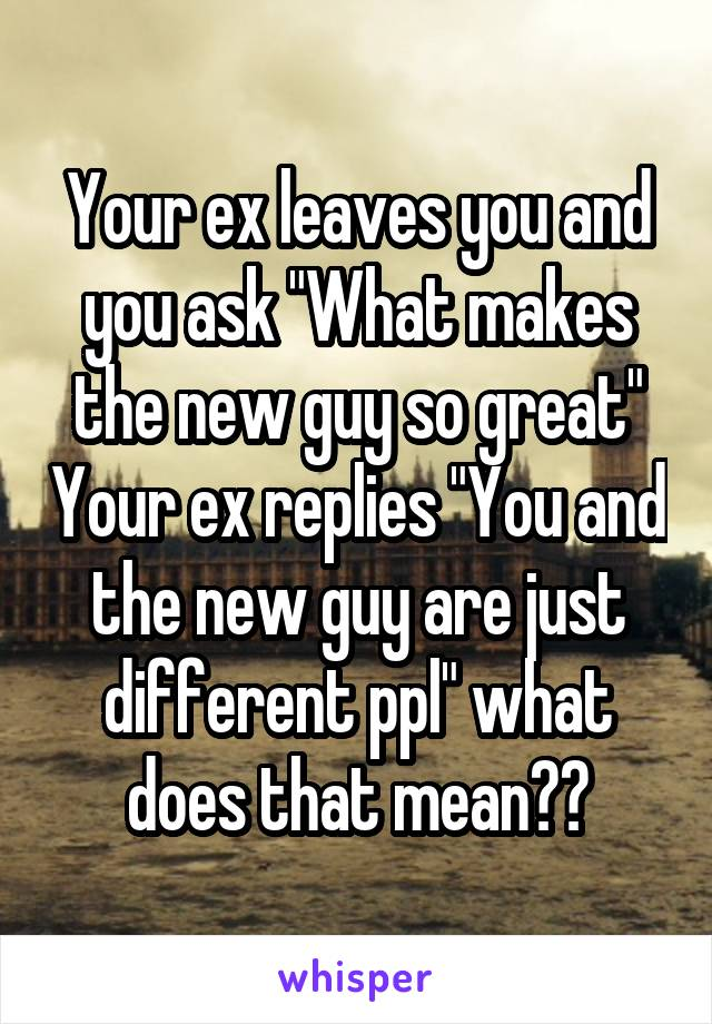 """Your ex leaves you and you ask """"What makes the new guy so great"""" Your ex replies """"You and the new guy are just different ppl"""" what does that mean??"""