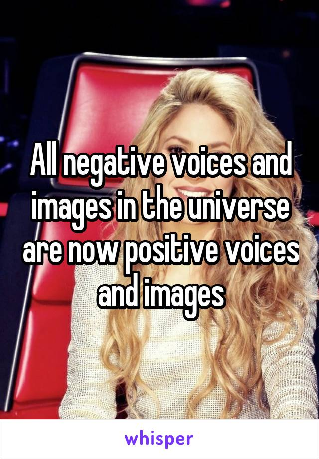 All negative voices and images in the universe are now positive voices and images