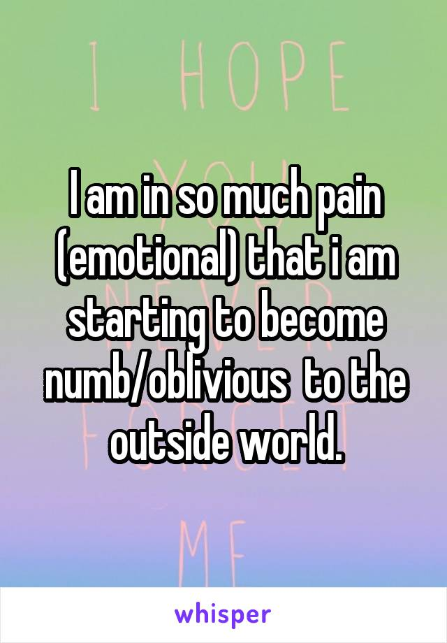 I am in so much pain (emotional) that i am starting to become numb/oblivious  to the outside world.