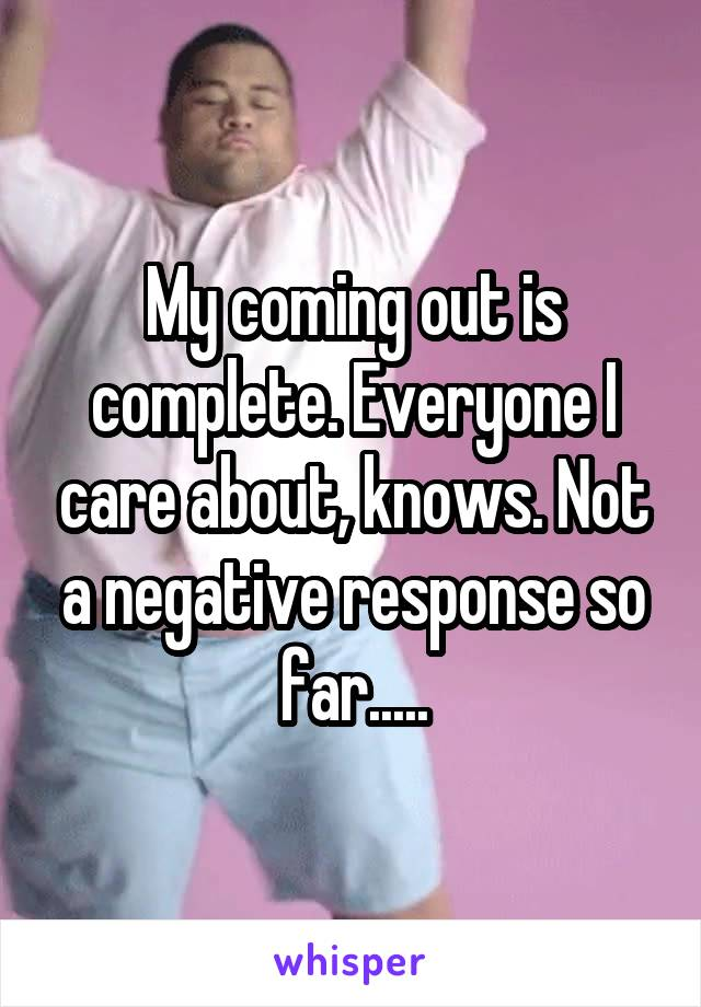 My coming out is complete. Everyone I care about, knows. Not a negative response so far.....