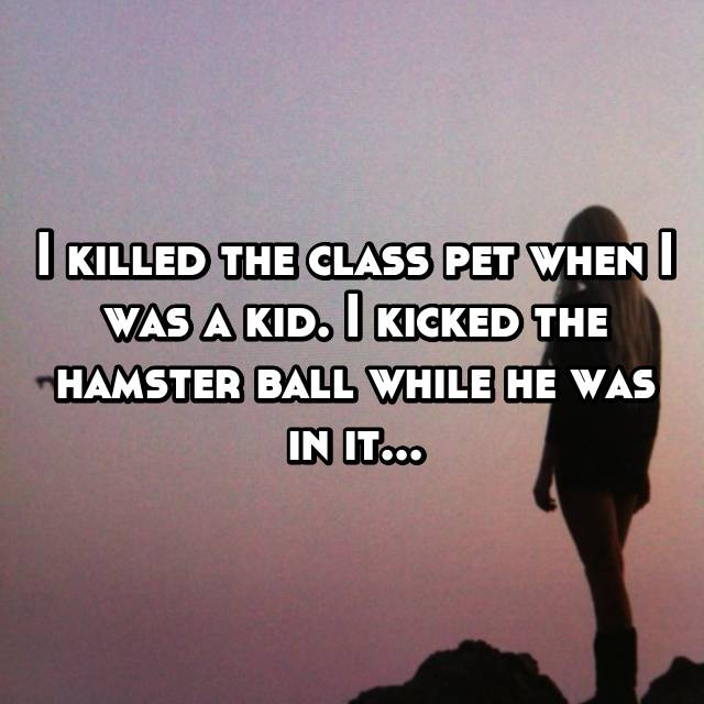 I killed the class pet when I was a kid. I kicked the hamster ball while he was in it...